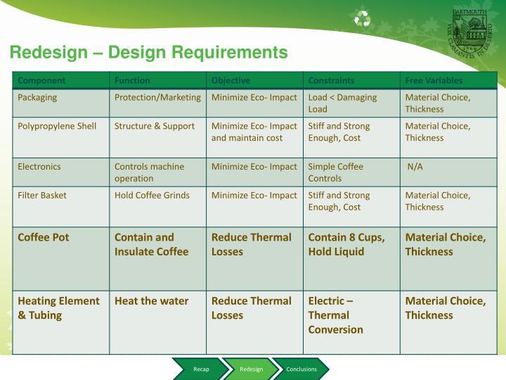 Redesign – Design Requirements