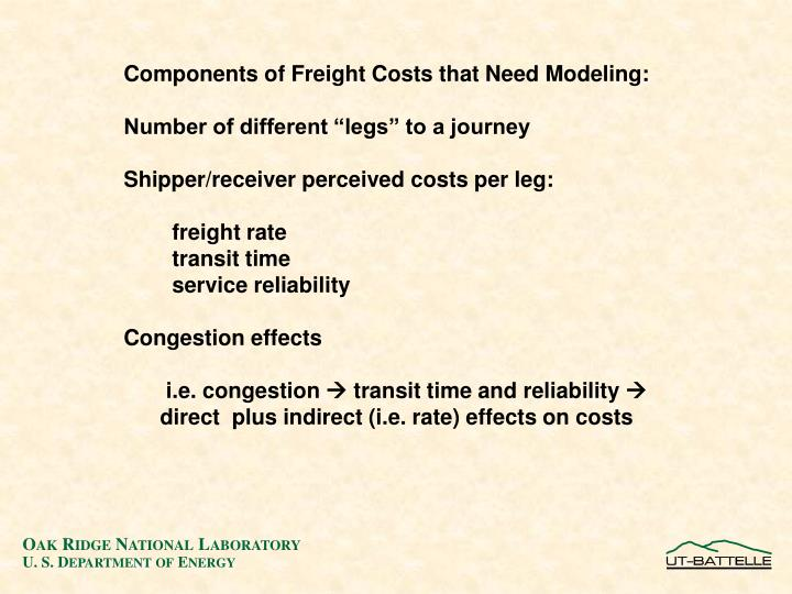 Components of Freight Costs that Need Modeling: