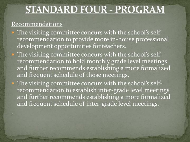 STANDARD FOUR - PROGRAM