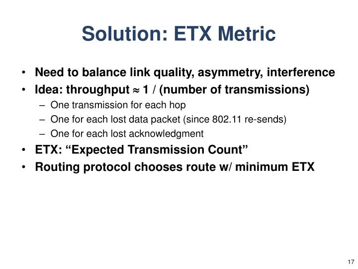 Solution: ETX Metric
