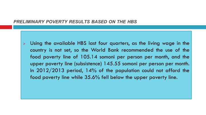 PRELIMINARY POVERTY RESULTS BASED ON THE HBS