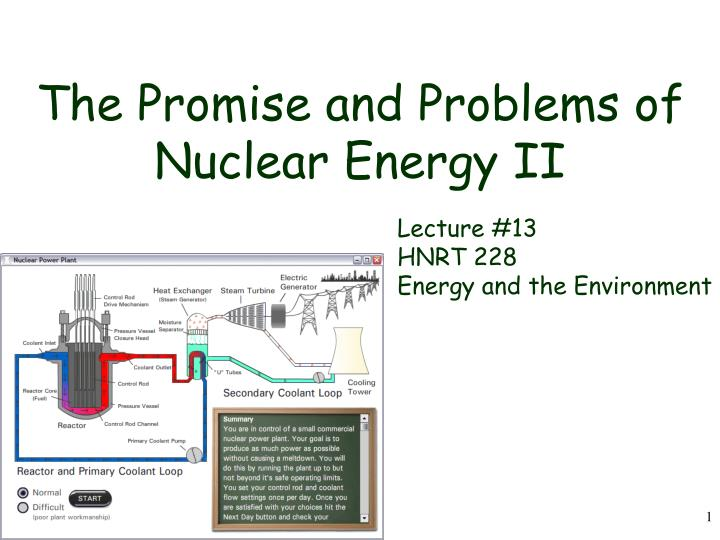 the promise and problems of nuclear energy ii n.
