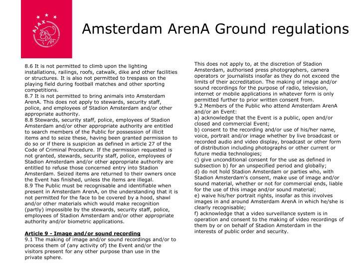 Amsterdam ArenA Ground regulations