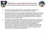 review and award process