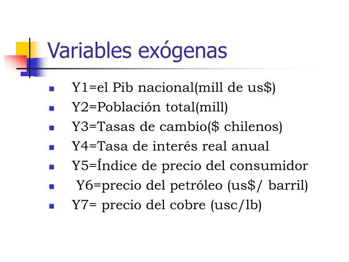 Variables exógenas