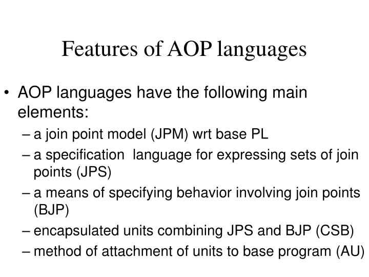 features of aop languages n.