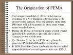 the origination of fema