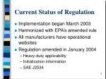 current status of regulation