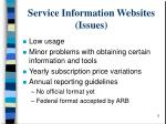 service information websites issues