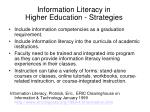 information literacy in higher education strategies