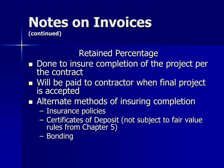 Notes on Invoices