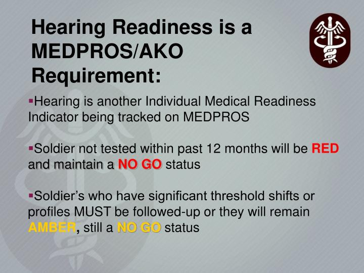 Hearing Readiness is a MEDPROS/AKO Requirement:
