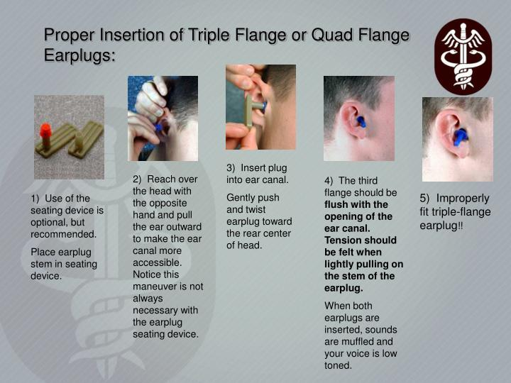 Proper Insertion of Triple Flange or Quad Flange Earplugs: