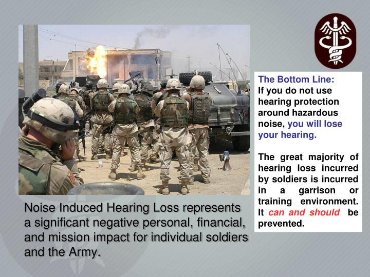 Noise Induced Hearing Loss represents a significant negative personal, financial, and mission impact for individual soldiers and the Army.