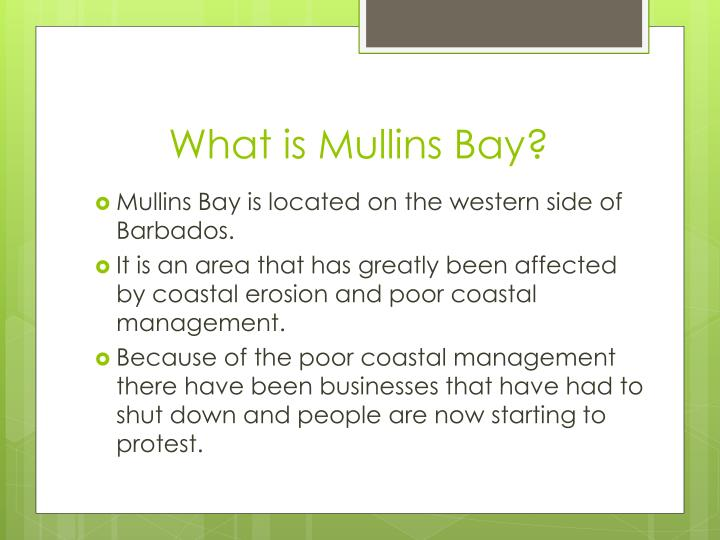 What is Mullins Bay?