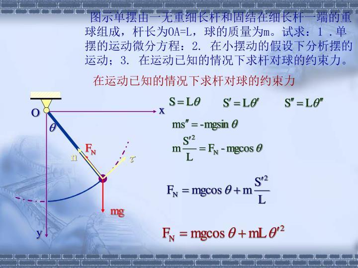 图示单摆由一无重细长杆和固结在细长杆一端的重球组成,杆长为