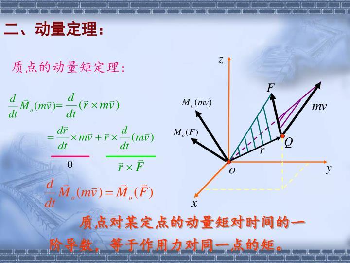 二、动量定理: