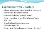 experience with disasters
