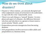 how do we think about disasters