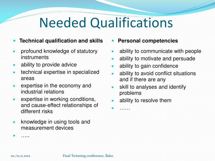 Needed Qualifications