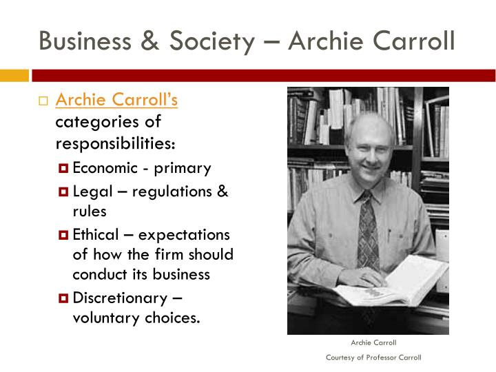 a discussion on archie carroll's view Archie carroll's 3 types of managers chooses to behave unethically a) doing things purely for personal gain and intentionally disregards the ethics of the action or situation.