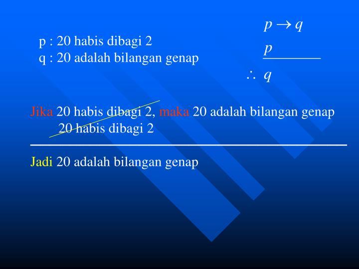 p : 20 habis dibagi 2