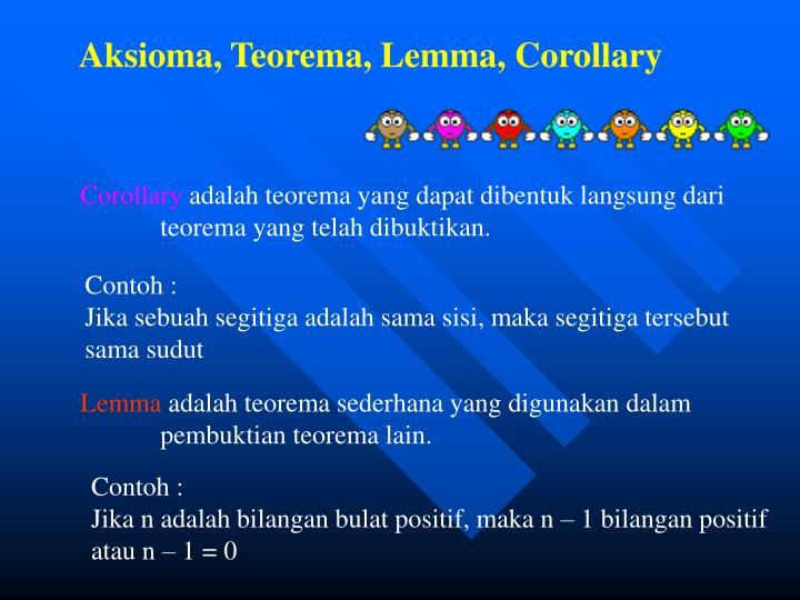 Aksioma, Teorema, Lemma, Corollary