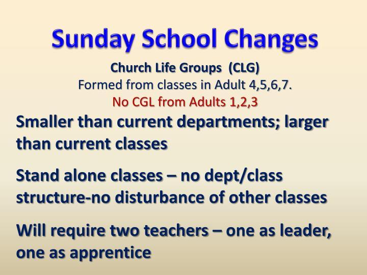 Sunday School Changes