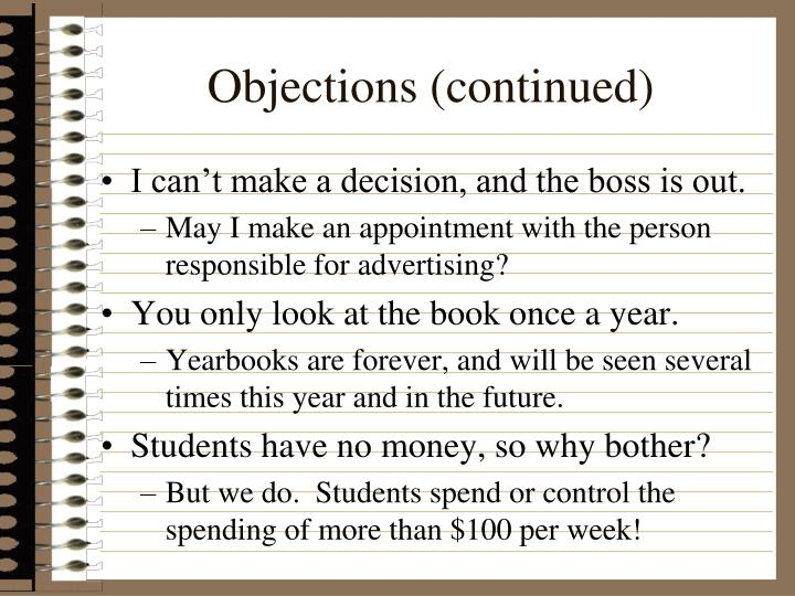 Objections (continued)