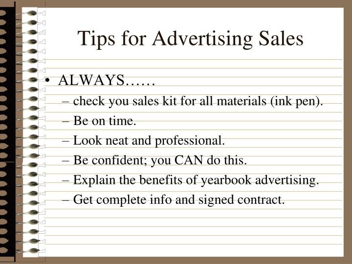 Tips for Advertising Sales