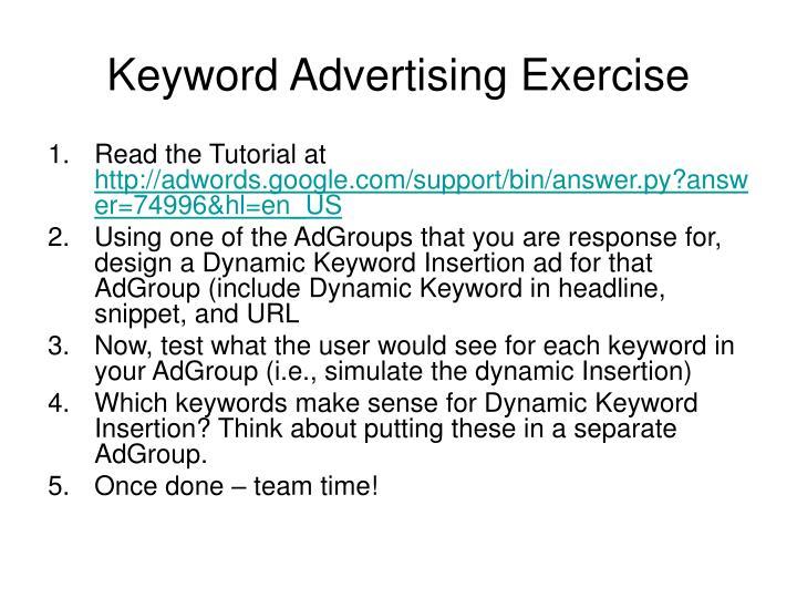 Keyword Advertising Exercise