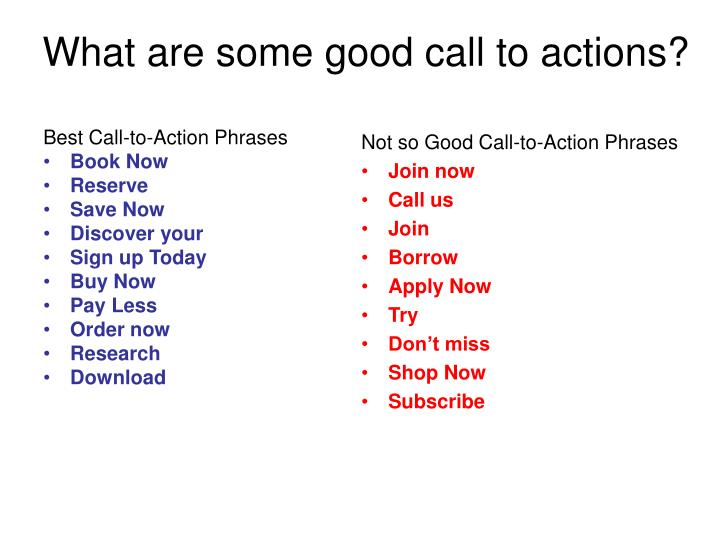 What are some good call to actions?