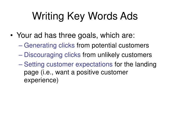 Writing key words ads