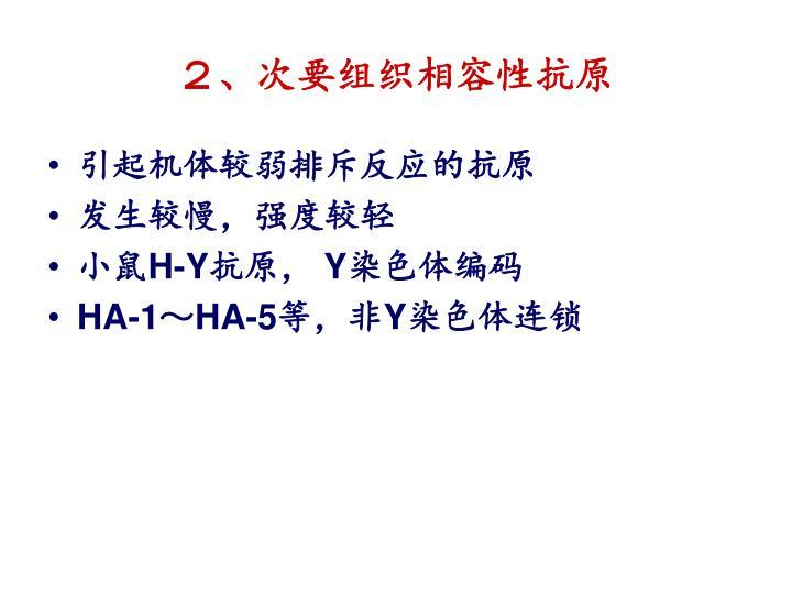 2、次要组织相容性抗原
