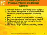 food preparation strategies to preserve vitamin and mineral content
