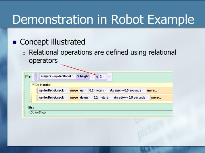 Demonstration in Robot Example