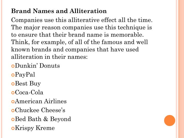 Brand Names and Alliteration