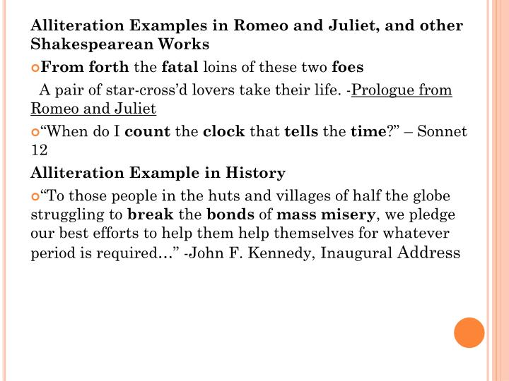 Alliteration Examples in Romeo and Juliet, and other Shakespearean Works