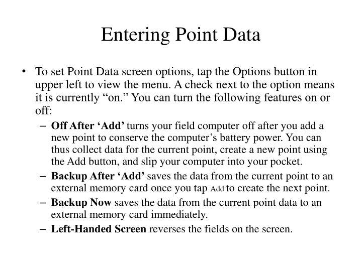 Entering Point Data