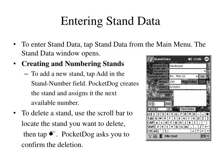 Entering Stand Data