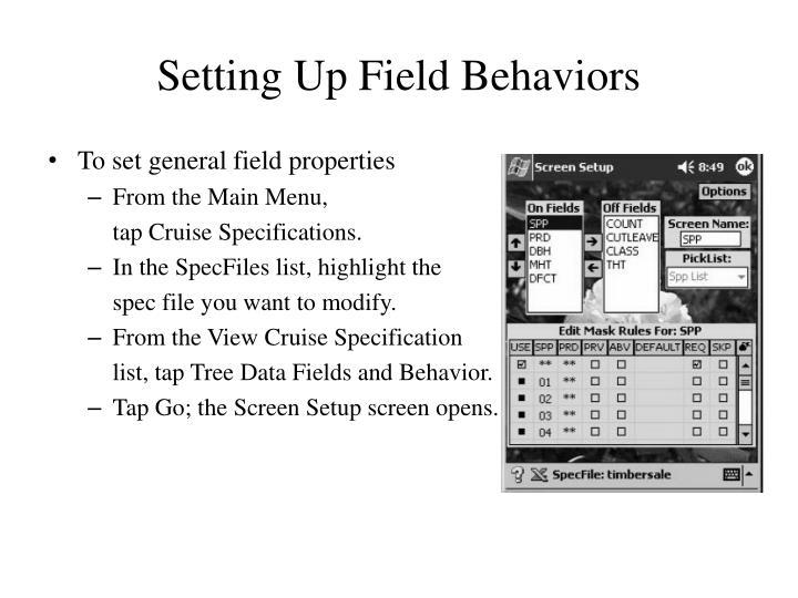 Setting Up Field Behaviors