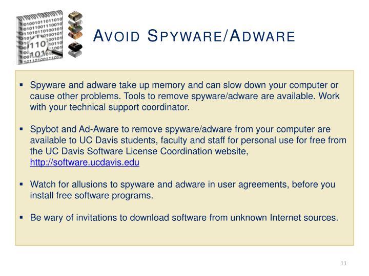 Avoid Spyware/Adware