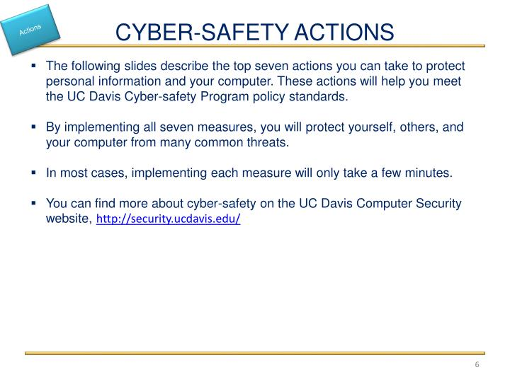 CYBER-SAFETY ACTIONS