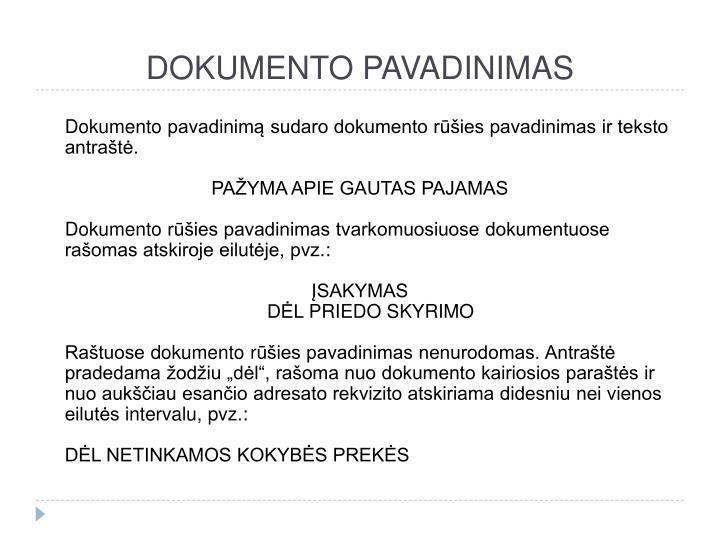 DOKUMENTO PAVADINIMAS