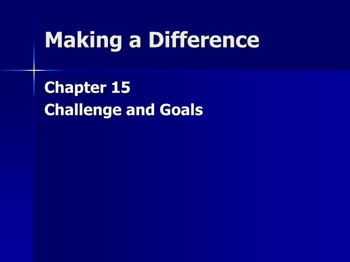 making a difference n.