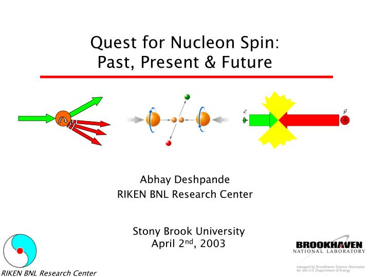 quest for nucleon spin past present future n.