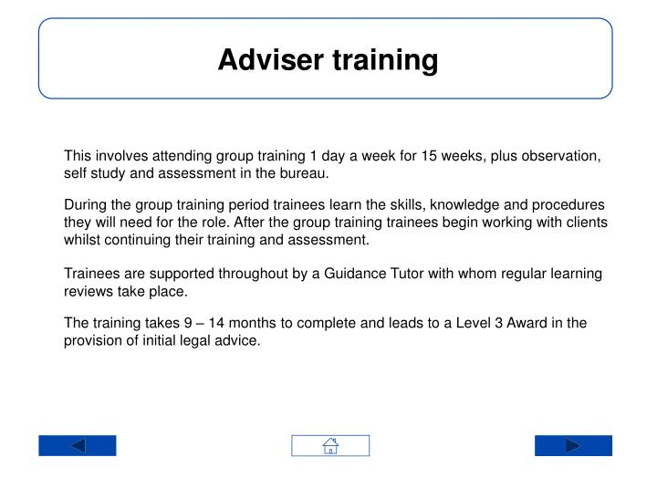 Adviser training