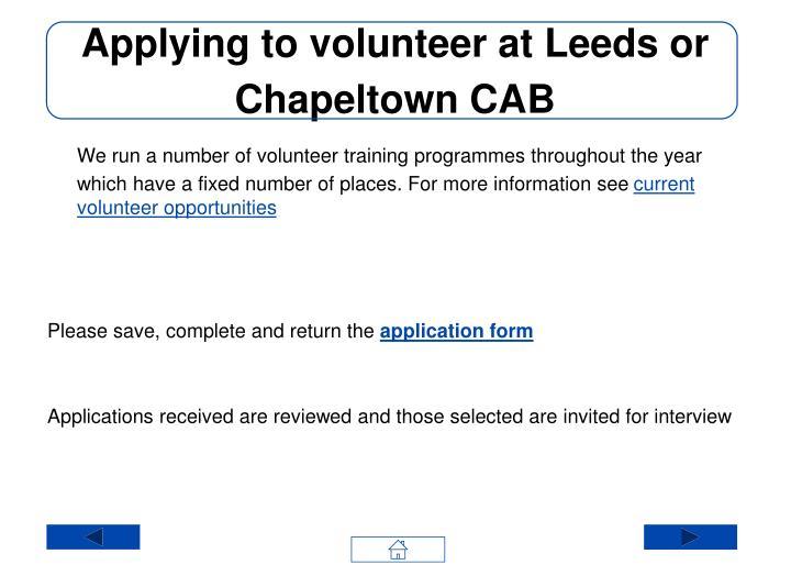 Applying to volunteer at Leeds or Chapeltown CAB