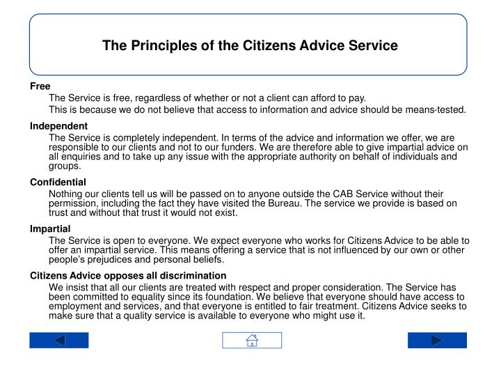 The Principles of the Citizens Advice Service