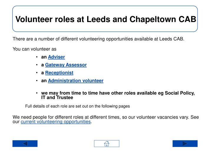 Volunteer roles at Leeds and Chapeltown CAB